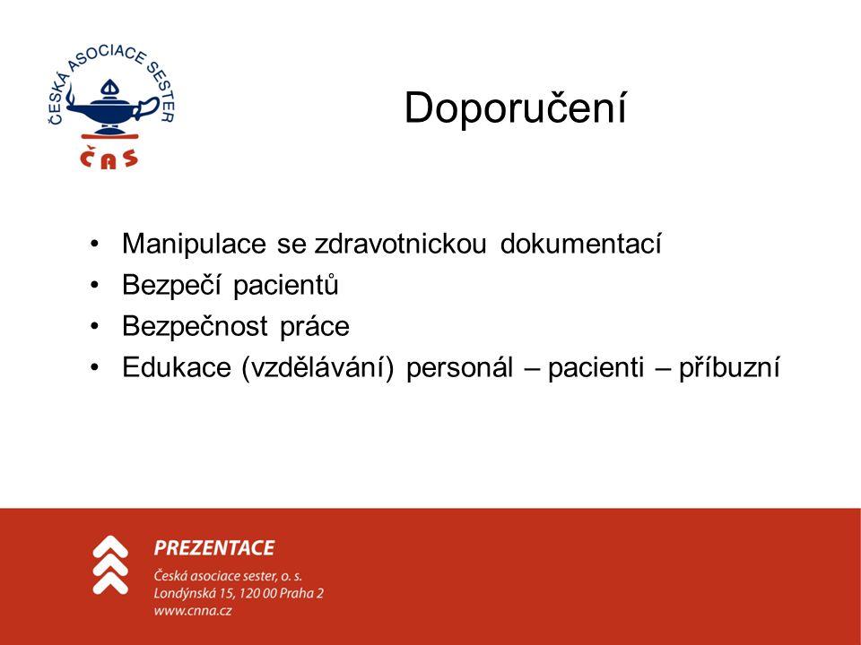 Doporučení Manipulace se zdravotnickou dokumentací Bezpečí pacientů Bezpečnost práce Edukace (vzdělávání) personál – pacienti – příbuzní