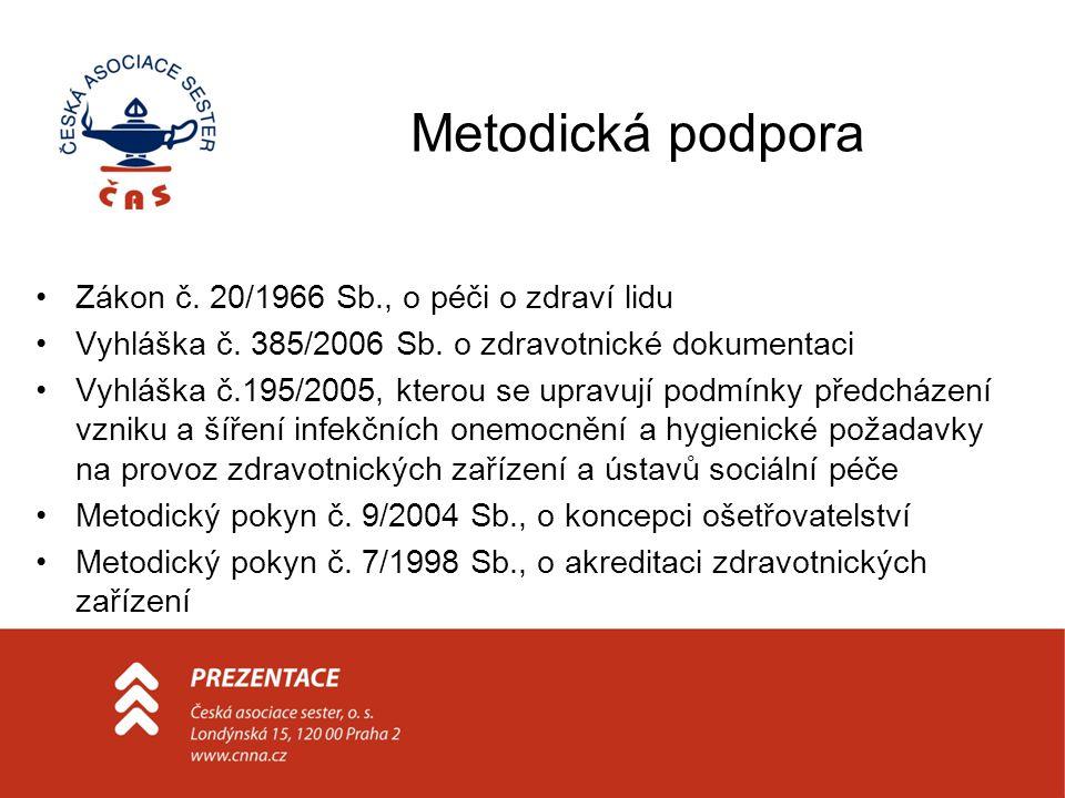 Metodická podpora Zákon č. 20/1966 Sb., o péči o zdraví lidu Vyhláška č. 385/2006 Sb. o zdravotnické dokumentaci Vyhláška č.195/2005, kterou se upravu