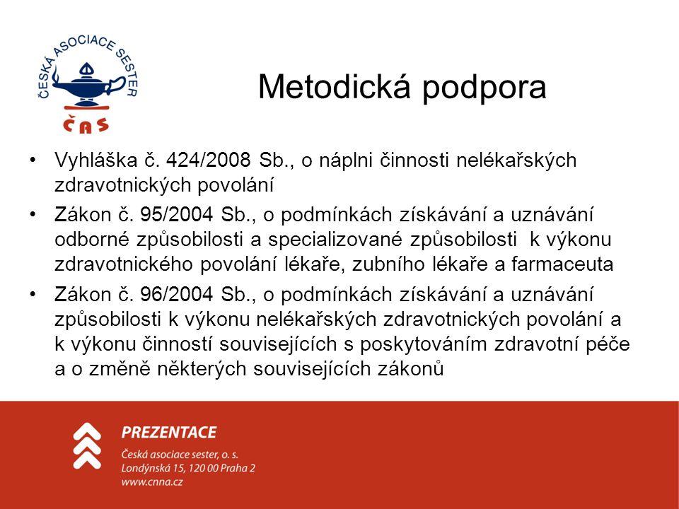 Metodická podpora Vyhláška č. 424/2008 Sb., o náplni činnosti nelékařských zdravotnických povolání Zákon č. 95/2004 Sb., o podmínkách získávání a uzná