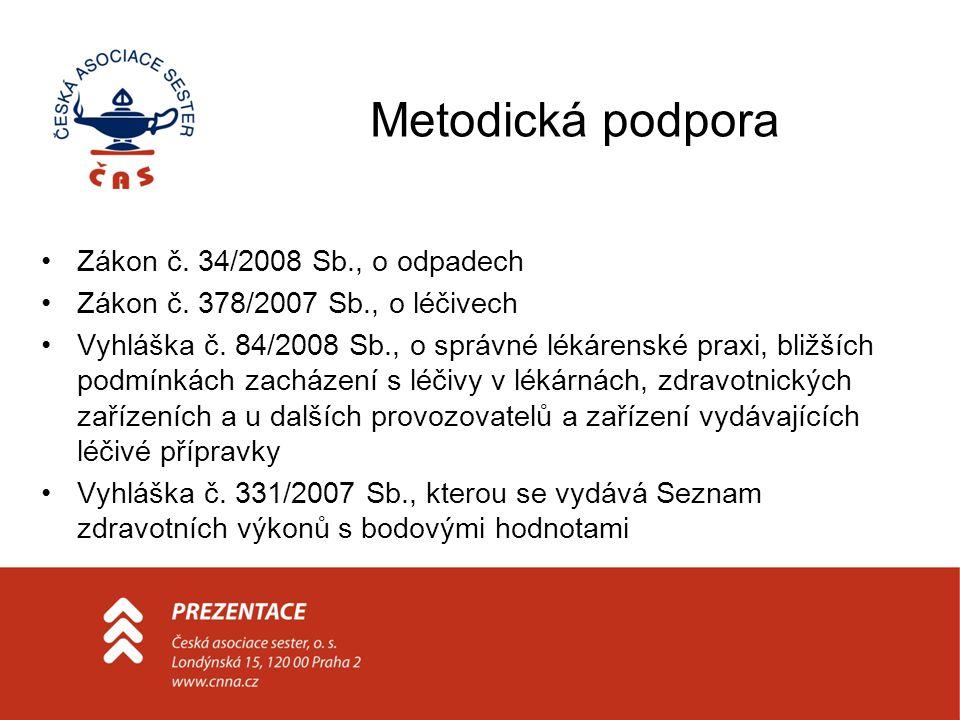 Metodická podpora Zákon č. 34/2008 Sb., o odpadech Zákon č. 378/2007 Sb., o léčivech Vyhláška č. 84/2008 Sb., o správné lékárenské praxi, bližších pod
