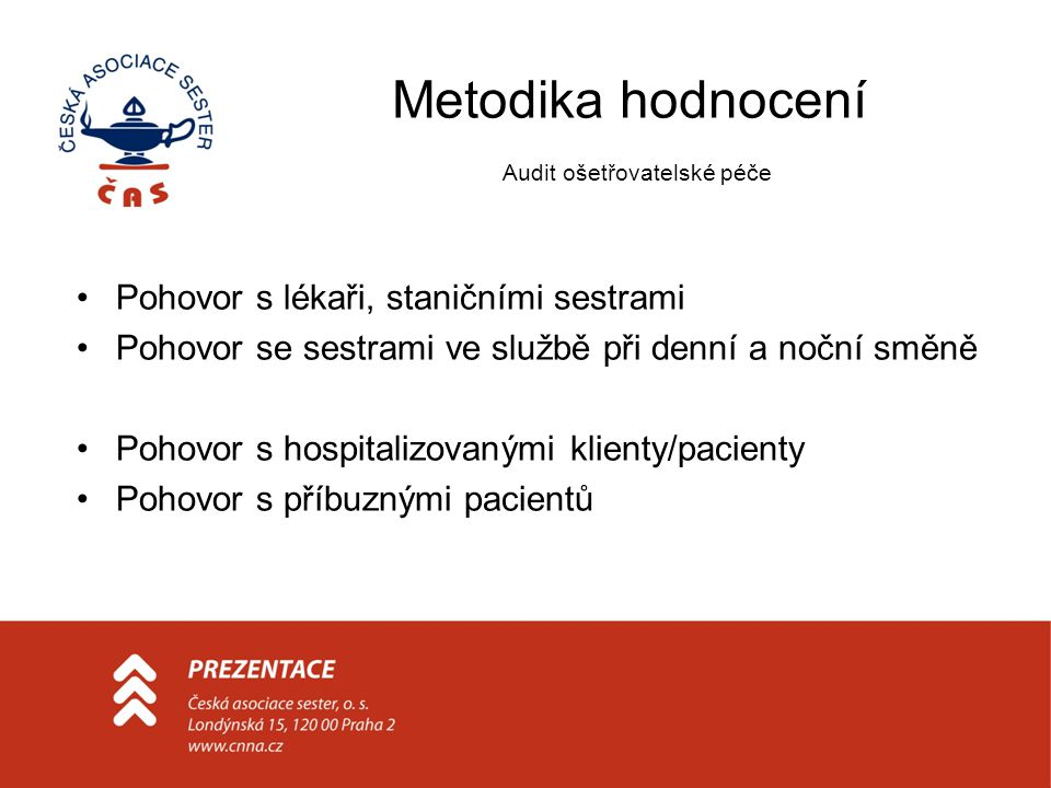 Metodika hodnocení Audit ošetřovatelské péče Pohovor s lékaři, staničními sestrami Pohovor se sestrami ve službě při denní a noční směně Pohovor s hos
