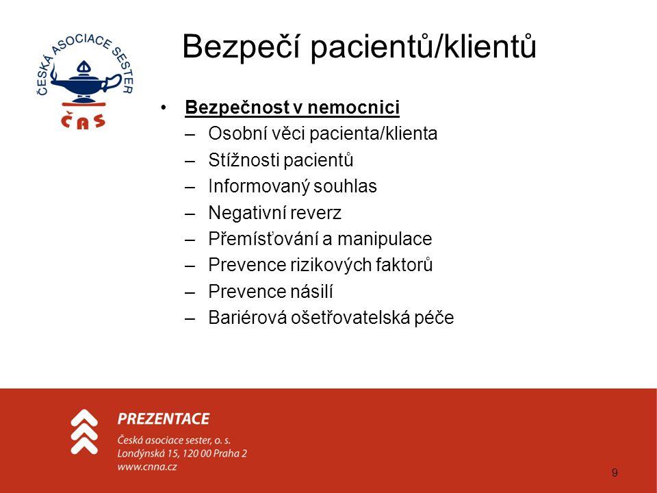 9 Bezpečí pacientů/klientů Bezpečnost v nemocnici –Osobní věci pacienta/klienta –Stížnosti pacientů –Informovaný souhlas –Negativní reverz –Přemísťová