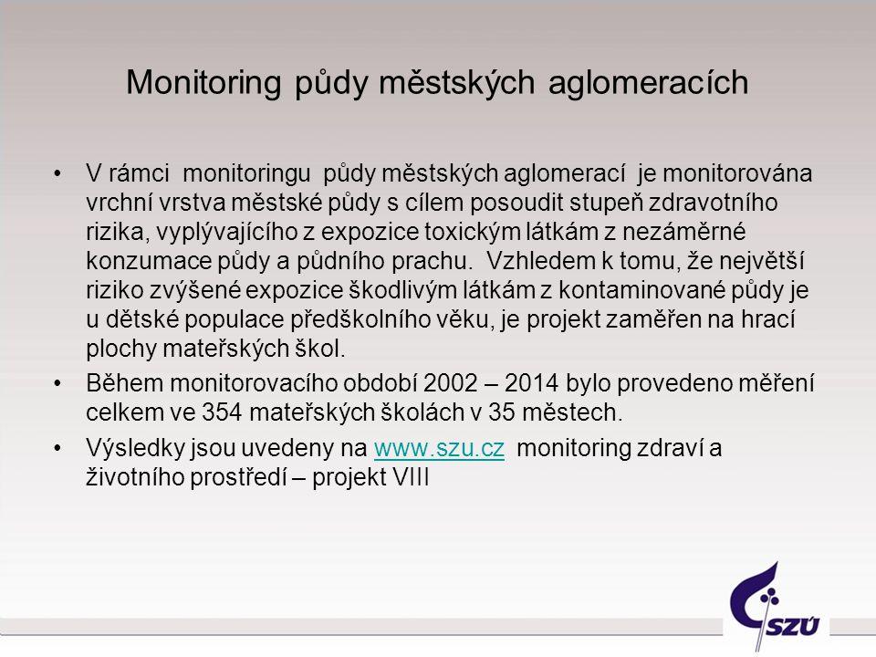 Monitoring půdy městských aglomeracích V rámci monitoringu půdy městských aglomerací je monitorována vrchní vrstva městské půdy s cílem posoudit stupe
