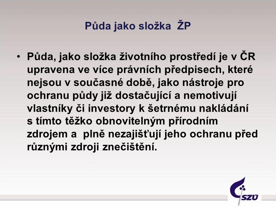 Půda jako složka ŽP Půda, jako složka životního prostředí je v ČR upravena ve více právních předpisech, které nejsou v současné době, jako nástroje pr