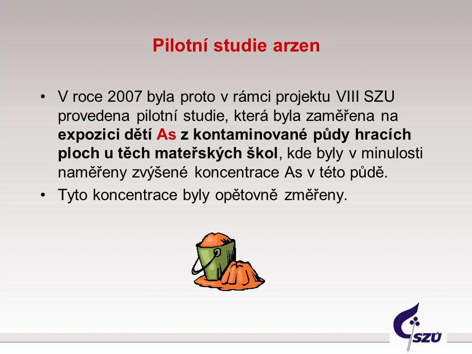 Pilotní studie arzen V roce 2007 byla proto v rámci projektu VIII SZU provedena pilotní studie, která byla zaměřena na expozici dětí As z kontaminovan