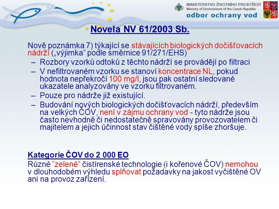 """Novela NV 61/2003 Sb. Nově poznámka 7) týkající se stávajících biologických dočišťovacích nádrží (""""výjimka"""" podle směrnice 91/271/EHS) –Rozbory vzorků"""