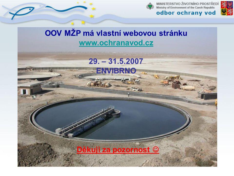 OOV MŽP má vlastní webovou stránku www.ochranavod.cz 29. – 31.5.2007 ENVIBRNO Děkuji za pozornost