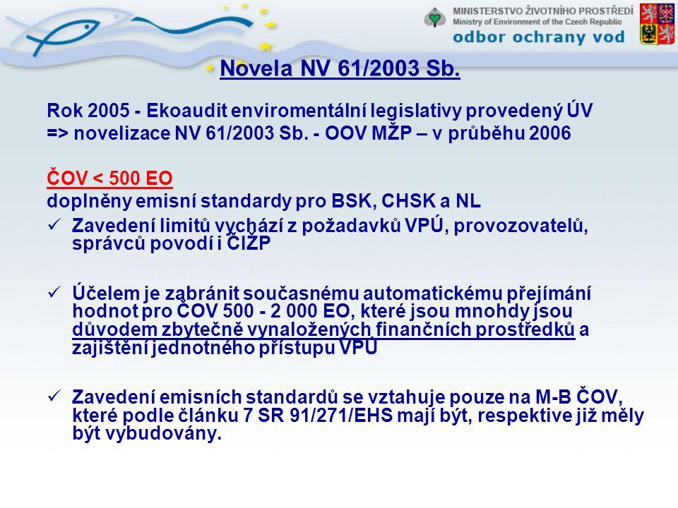 Novela NV 61/2003 Sb. Rok 2005 - Ekoaudit enviromentální legislativy provedený ÚV => novelizace NV 61/2003 Sb. - OOV MŽP – v průběhu 2006 ČOV < 500 EO