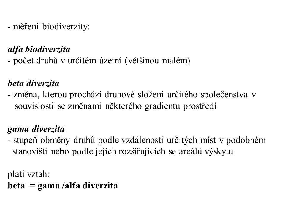 - měření biodiverzity: alfa biodiverzita - počet druhů v určitém území (většinou malém) beta diverzita - změna, kterou prochází druhové složení určitého společenstva v souvislosti se změnami některého gradientu prostředí gama diverzita - stupeň obměny druhů podle vzdálenosti určitých míst v podobném stanovišti nebo podle jejich rozšiřujících se areálů výskytu platí vztah: beta = gama /alfa diverzita
