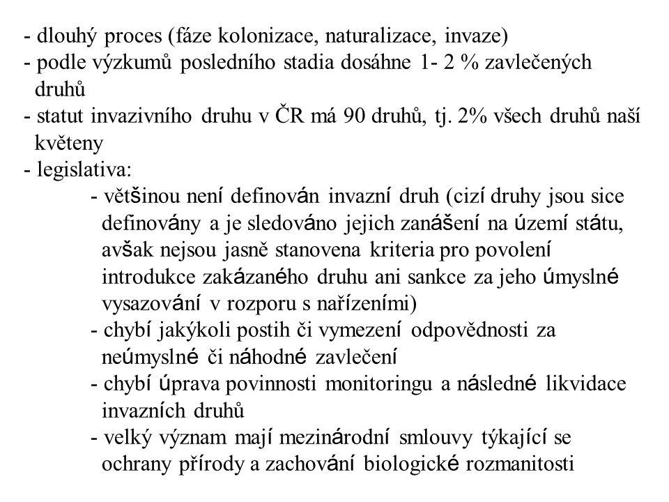 - dlouhý proces (fáze kolonizace, naturalizace, invaze) - podle výzkumů posledního stadia dosáhne 1- 2 % zavlečených druhů - statut invazivního druhu v ČR má 90 druhů, tj.