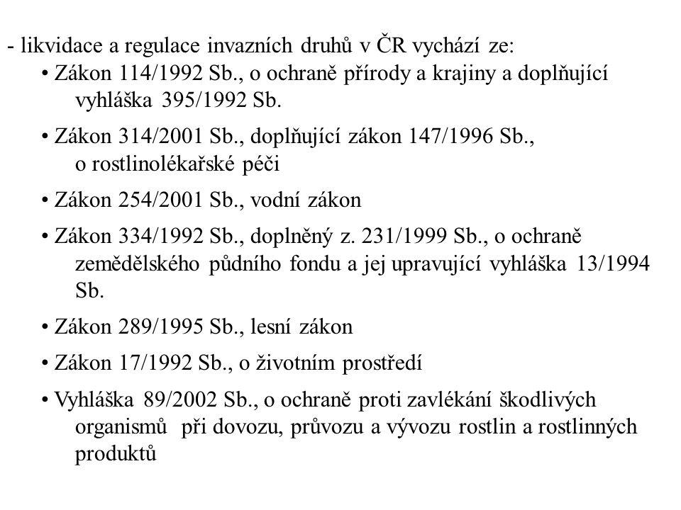 - likvidace a regulace invazních druhů v ČR vychází ze: Zákon 114/1992 Sb., o ochraně přírody a krajiny a doplňující vyhláška 395/1992 Sb. Zákon 314/2