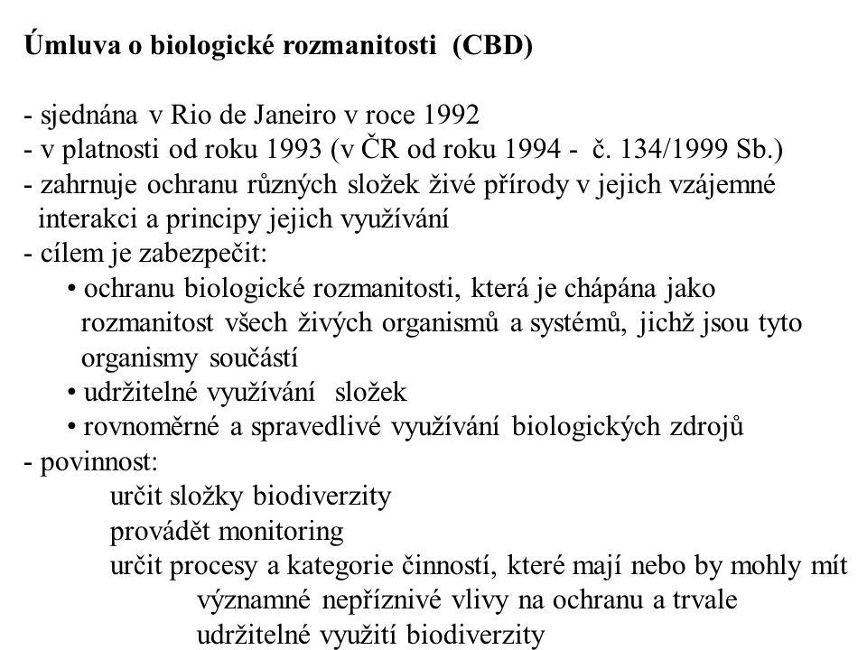 Úmluva o biologické rozmanitosti (CBD) - sjednána v Rio de Janeiro v roce 1992 - v platnosti od roku 1993 (v ČR od roku 1994 - č. 134/1999 Sb.) - zahr