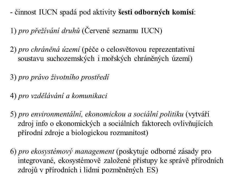 - činnost IUCN spadá pod aktivity šesti odborných komisí: 1) pro přežívání druhů (Červené seznamu IUCN) 2) pro chráněná území (péče o celosvětovou reprezentativní soustavu suchozemských i mořských chráněných území) 3) pro právo životního prostředí 4) pro vzdělávání a komunikaci 5) pro environmentální, ekonomickou a sociální politiku (vytváří zdroj info o ekonomických a sociálních faktorech ovlivňujících přírodní zdroje a biologickou rozmanitost) 6) pro ekosystémový management (poskytuje odborné zásady pro integrované, ekosystémově založené přístupy ke správě přírodních zdrojů v přírodních i lidmi pozměněných ES)