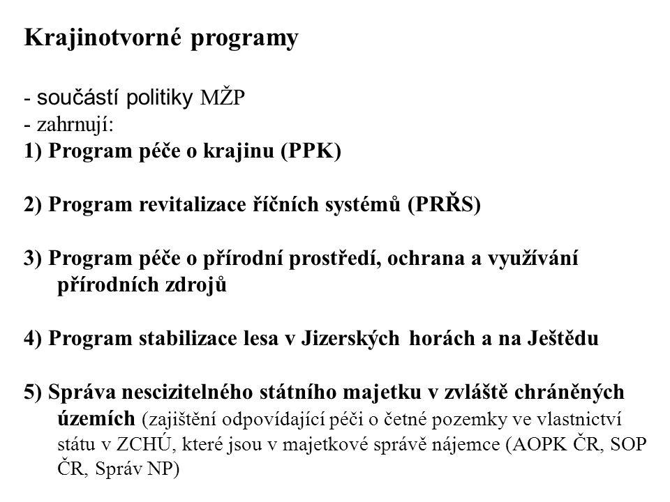 Krajinotvorné programy - součástí politiky MŽP - zahrnují: 1) Program péče o krajinu (PPK) 2) Program revitalizace říčních systémů (PRŘS) 3) Program p