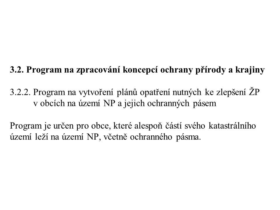 3.2.Program na zpracování koncepcí ochrany přírody a krajiny 3.2.2.