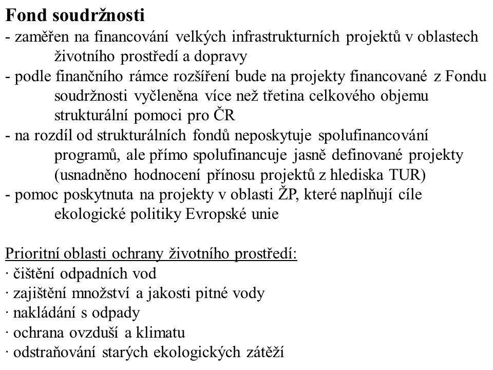 Fond soudržnosti - zaměřen na financování velkých infrastrukturních projektů v oblastech životního prostředí a dopravy - podle finančního rámce rozšíření bude na projekty financované z Fondu soudržnosti vyčleněna více než třetina celkového objemu strukturální pomoci pro ČR - na rozdíl od strukturálních fondů neposkytuje spolufinancování programů, ale přímo spolufinancuje jasně definované projekty (usnadněno hodnocení přínosu projektů z hlediska TUR) - pomoc poskytnuta na projekty v oblasti ŽP, které naplňují cíle ekologické politiky Evropské unie Prioritní oblasti ochrany životního prostředí: · čištění odpadních vod · zajištění množství a jakosti pitné vody · nakládání s odpady · ochrana ovzduší a klimatu · odstraňování starých ekologických zátěží