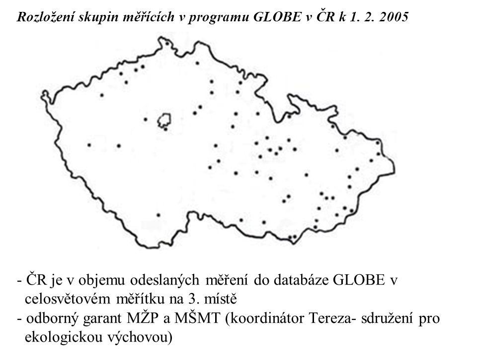 Rozložení skupin měřících v programu GLOBE v ČR k 1. 2. 2005 - ČR je v objemu odeslaných měření do databáze GLOBE v celosvětovém měřítku na 3. místě -