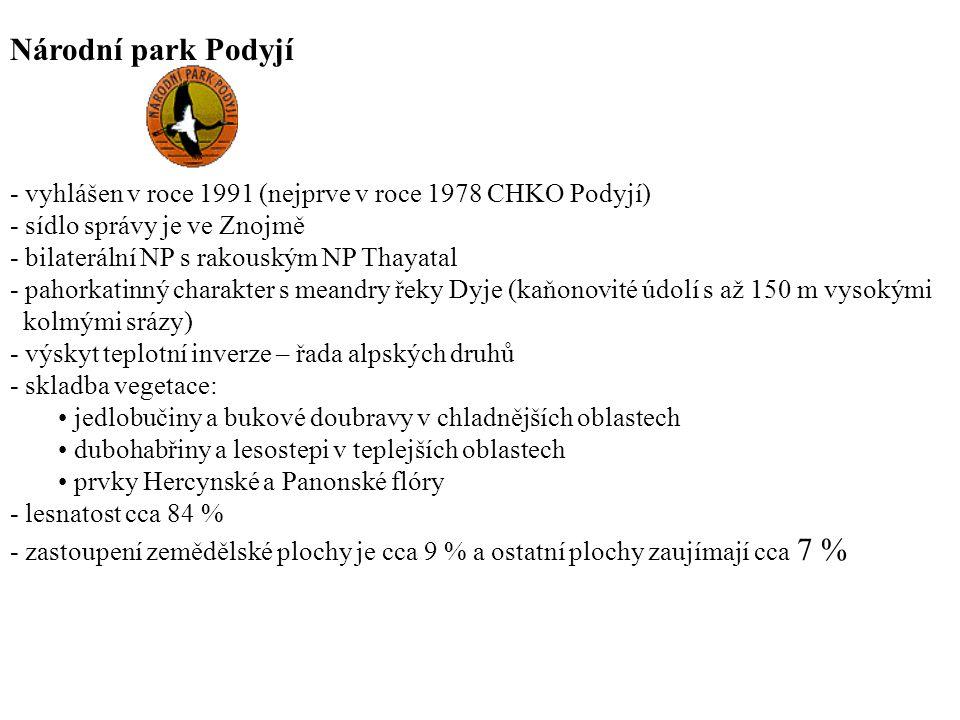 Národní park Podyjí - vyhlášen v roce 1991 (nejprve v roce 1978 CHKO Podyjí) - sídlo správy je ve Znojmě - bilaterální NP s rakouským NP Thayatal - pa
