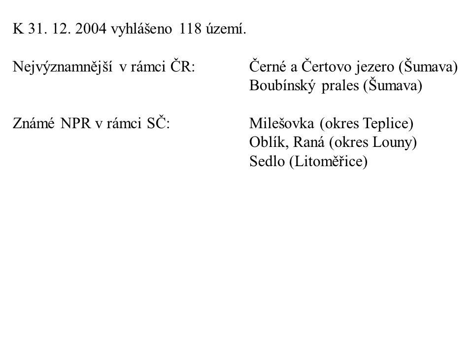 K 31.12. 2004 vyhlášeno 118 území.