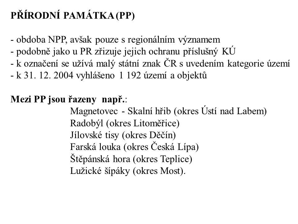 PŘÍRODNÍ PAMÁTKA (PP) - obdoba NPP, avšak pouze s regionálním významem - podobně jako u PR zřizuje jejich ochranu příslušný KÚ - k označení se užívá malý státní znak ČR s uvedením kategorie území - k 31.