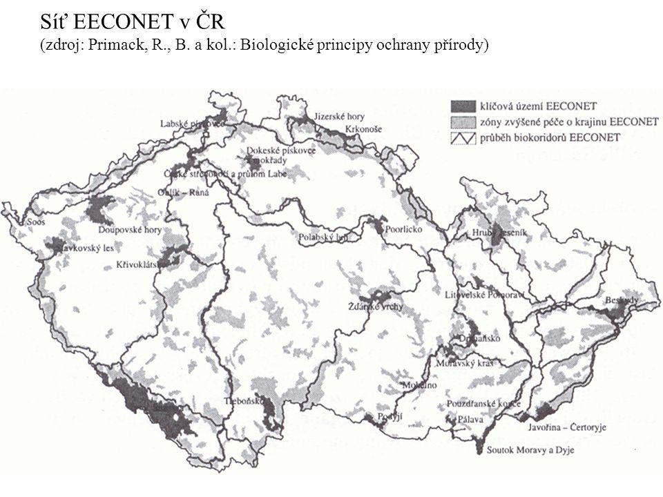 Síť EECONET v ČR (zdroj: Primack, R., B. a kol.: Biologické principy ochrany přírody)