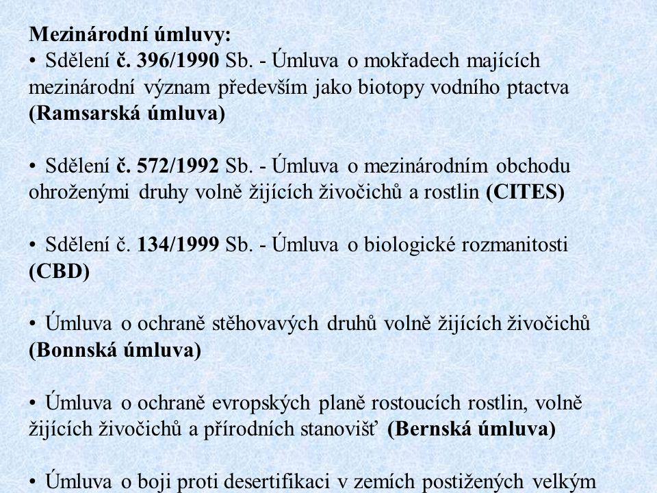 Mezinárodní úmluvy: Sdělení č. 396/1990 Sb. - Úmluva o mokřadech majících mezinárodní význam především jako biotopy vodního ptactva (Ramsarská úmluva)
