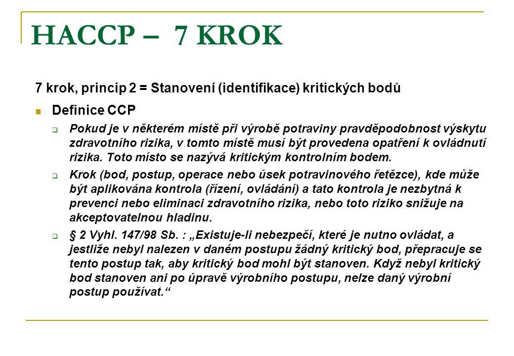 HACCP – 7 KROK 7 krok, princip 2 = Stanovení (identifikace) kritických bodů Definice CCP  Pokud je v některém místě při výrobě potraviny pravděpodobnost výskytu zdravotního rizika, v tomto místě musí být provedena opatření k ovládnutí rizika.