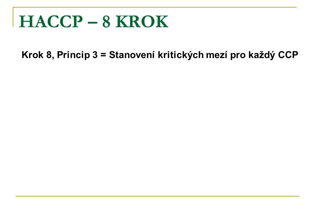 HACCP – 8 KROK Krok 8, Princip 3 = Stanovení kritických mezí pro každý CCP