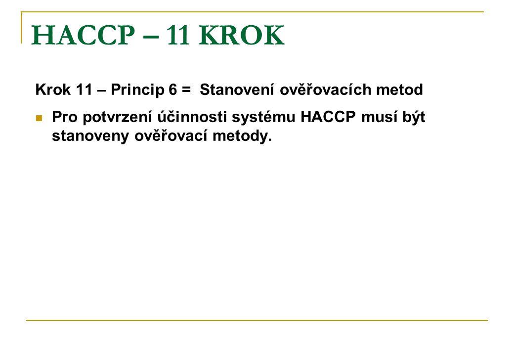 HACCP – 11 KROK Krok 11 – Princip 6 = Stanovení ověřovacích metod Pro potvrzení účinnosti systému HACCP musí být stanoveny ověřovací metody.