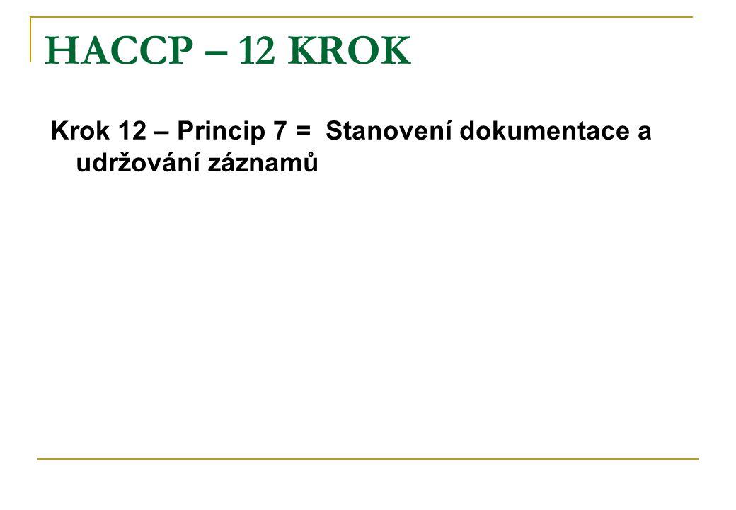 HACCP – 12 KROK Krok 12 – Princip 7 = Stanovení dokumentace a udržování záznamů