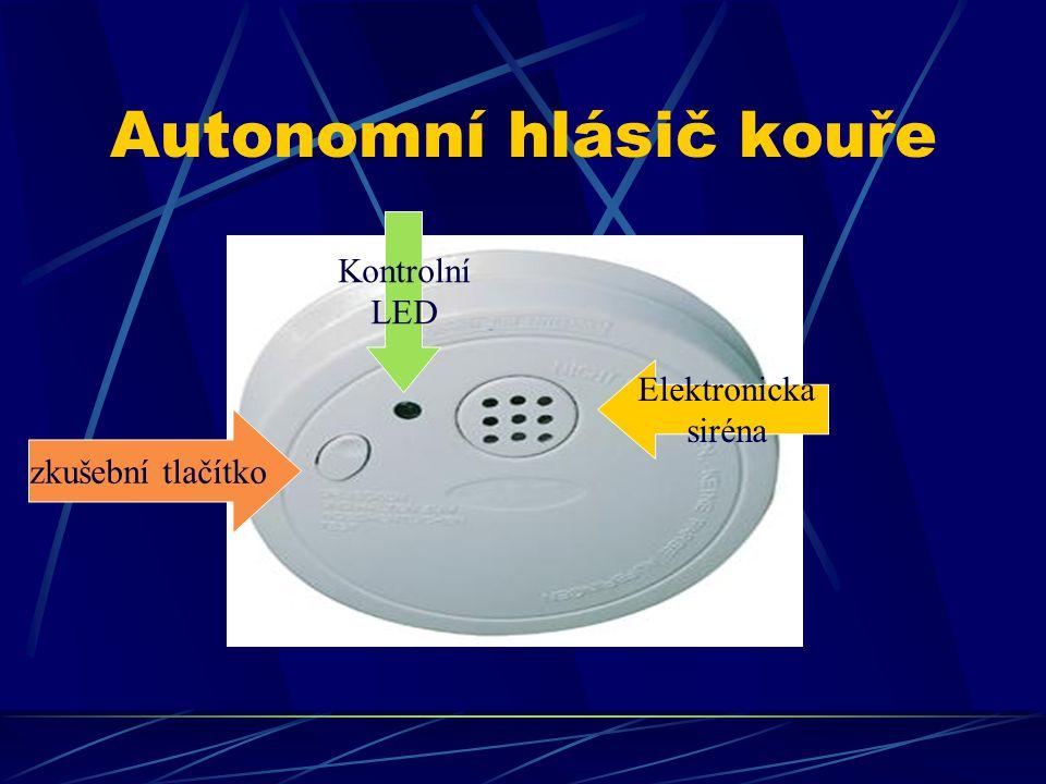 Autonomní hlásič kouře zkušební tlačítko Kontrolní LED Elektronická siréna