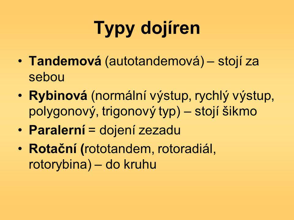 Typy dojíren Tandemová (autotandemová) – stojí za sebou Rybinová (normální výstup, rychlý výstup, polygonový, trigonový typ) – stojí šikmo Paralerní = dojení zezadu Rotační (rototandem, rotoradiál, rotorybina) – do kruhu