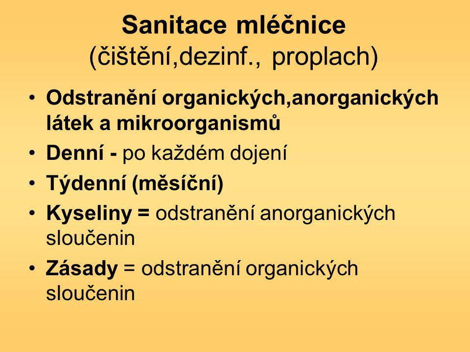 Sanitace mléčnice (čištění,dezinf., proplach) Odstranění organických,anorganických látek a mikroorganismů Denní - po každém dojení Týdenní (měsíční) K