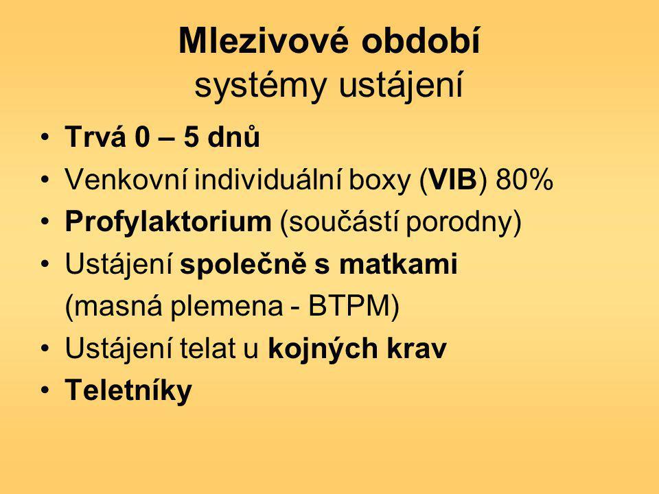 Mlezivové období systémy ustájení Trvá 0 – 5 dnů Venkovní individuální boxy (VIB) 80% Profylaktorium (součástí porodny) Ustájení společně s matkami (masná plemena - BTPM) Ustájení telat u kojných krav Teletníky