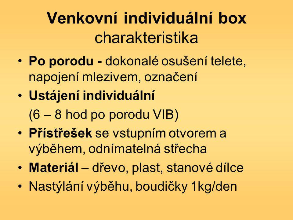Venkovní individuální box charakteristika Po porodu - dokonalé osušení telete, napojení mlezivem, označení Ustájení individuální (6 – 8 hod po porodu VIB) Přístřešek se vstupním otvorem a výběhem, odnímatelná střecha Materiál – dřevo, plast, stanové dílce Nastýlání výběhu, boudičky 1kg/den