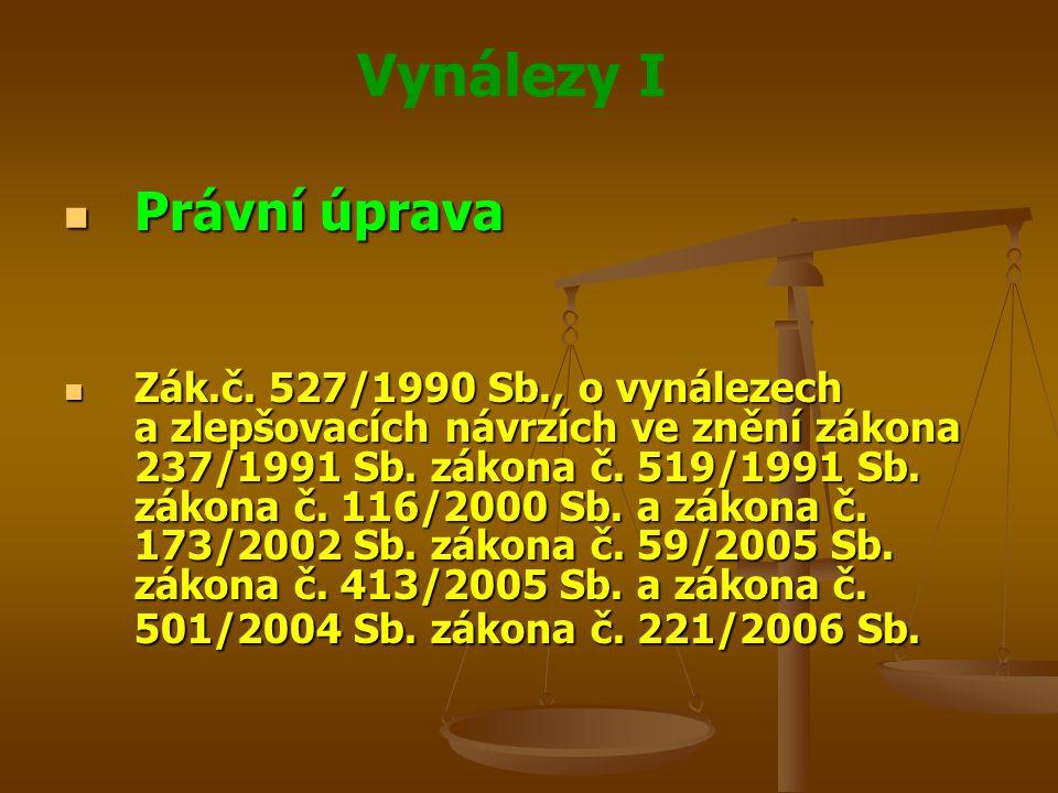 Vynálezy I Právní úprava Právní úprava Zák.č. 527/1990 Sb., o vynálezech a zlepšovacích návrzích ve znění zákona 237/1991 Sb. zákona č. 519/1991 Sb. z