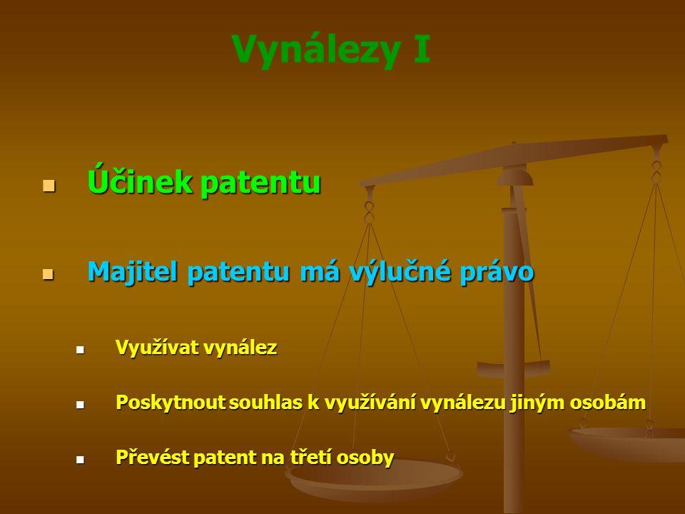 Vynálezy I Účinek patentu Účinek patentu Majitel patentu má výlučné právo Majitel patentu má výlučné právo Využívat vynález Využívat vynález Poskytnou