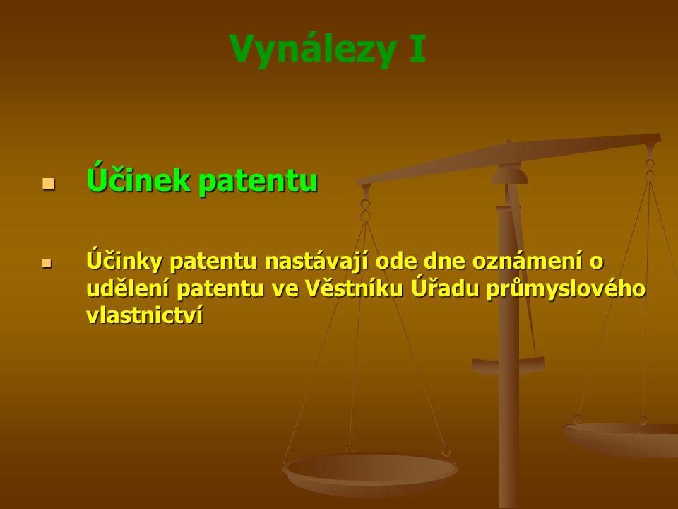 Vynálezy I Účinek patentu Účinek patentu Účinky patentu nastávají ode dne oznámení o udělení patentu ve Věstníku Úřadu průmyslového vlastnictví Účinky