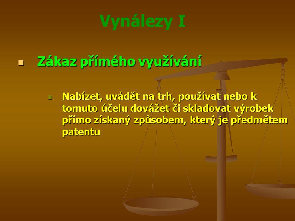 Vynálezy I Zákaz přímého využívání Zákaz přímého využívání Nabízet, uvádět na trh, používat nebo k tomuto účelu dovážet či skladovat výrobek přímo zís