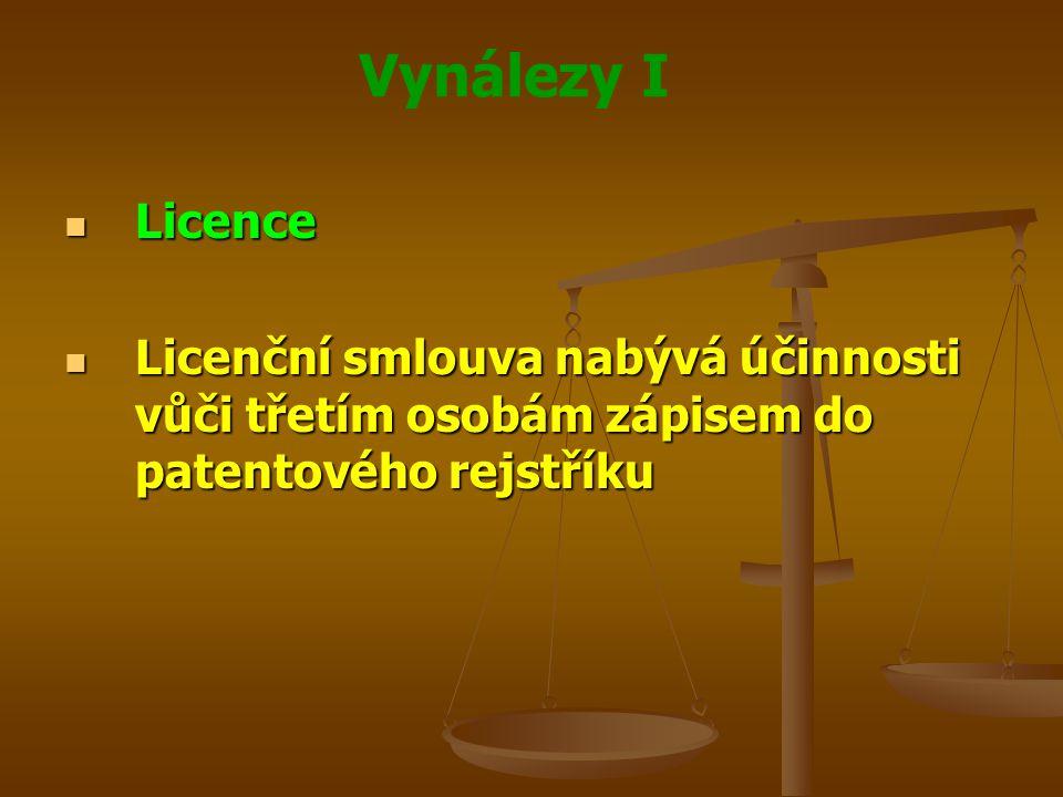 Vynálezy I Licence Licence Licenční smlouva nabývá účinnosti vůči třetím osobám zápisem do patentového rejstříku Licenční smlouva nabývá účinnosti vůč