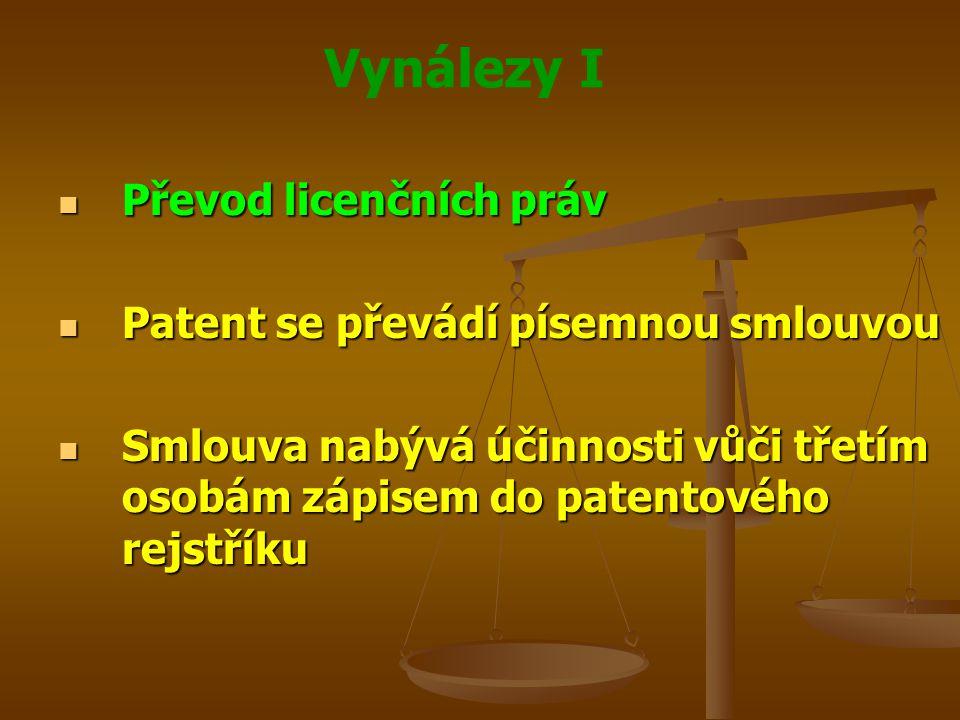 Vynálezy I Převod licenčních práv Převod licenčních práv Patent se převádí písemnou smlouvou Patent se převádí písemnou smlouvou Smlouva nabývá účinno