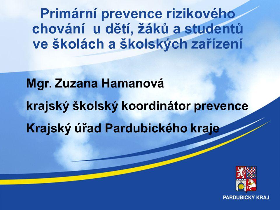 Primární prevence rizikového chování u dětí, žáků a studentů ve školách a školských zařízení Mgr. Zuzana Hamanová krajský školský koordinátor prevence