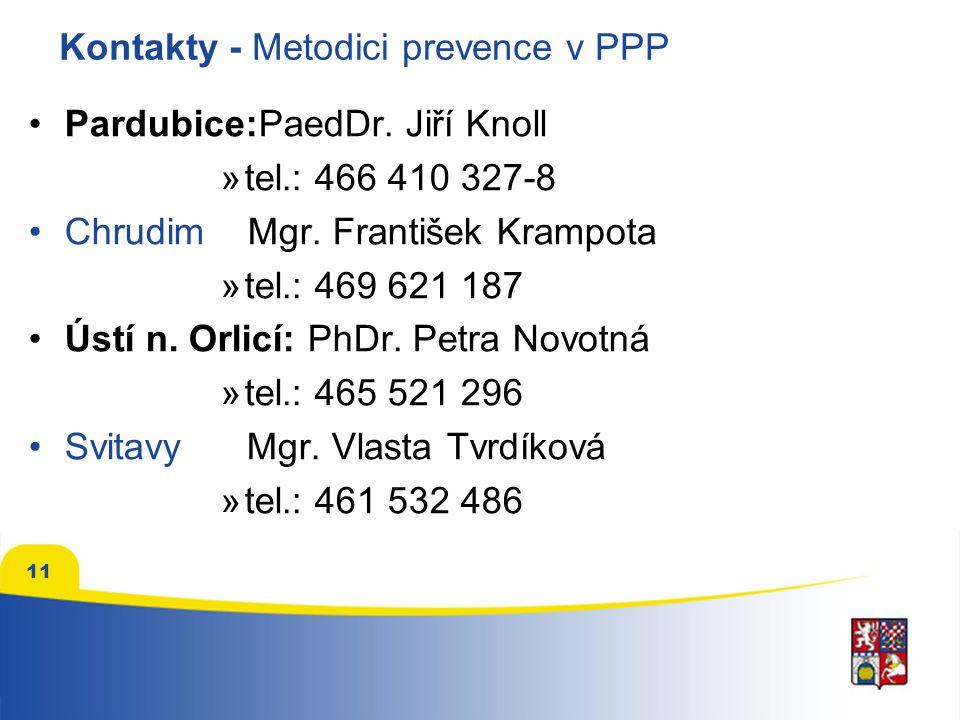 11 Kontakty - Metodici prevence v PPP Pardubice:PaedDr. Jiří Knoll »tel.: 466 410 327-8 Chrudim Mgr. František Krampota »tel.: 469 621 187 Ústí n. Orl