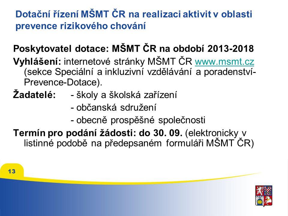 13 Dotační řízení MŠMT ČR na realizaci aktivit v oblasti prevence rizikového chování Poskytovatel dotace: MŠMT ČR na období 2013-2018 Vyhlášení: inter