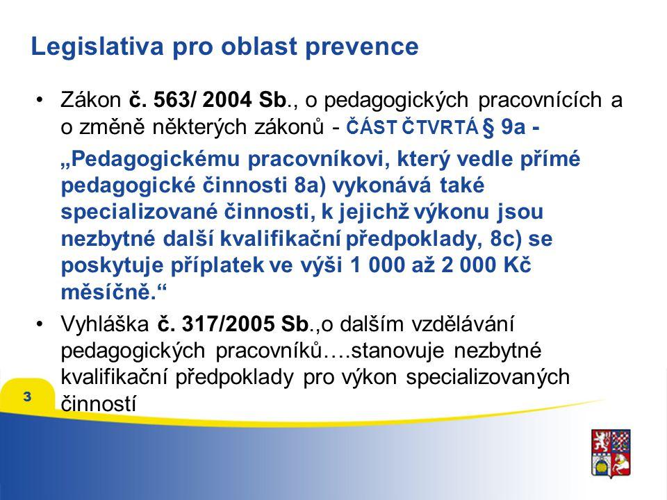 """3 Legislativa pro oblast prevence Zákon č. 563/ 2004 Sb., o pedagogických pracovnících a o změně některých zákonů - ČÁST ČTVRTÁ § 9a - """"Pedagogickému"""