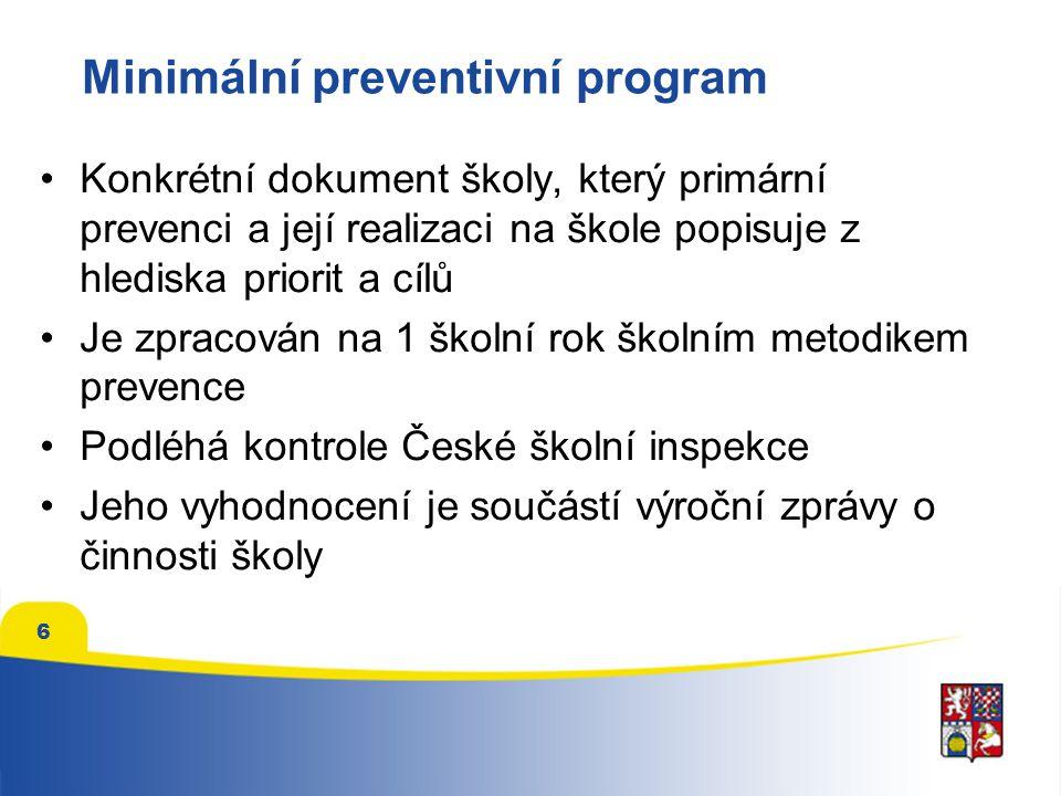 6 Minimální preventivní program Konkrétní dokument školy, který primární prevenci a její realizaci na škole popisuje z hlediska priorit a cílů Je zpra