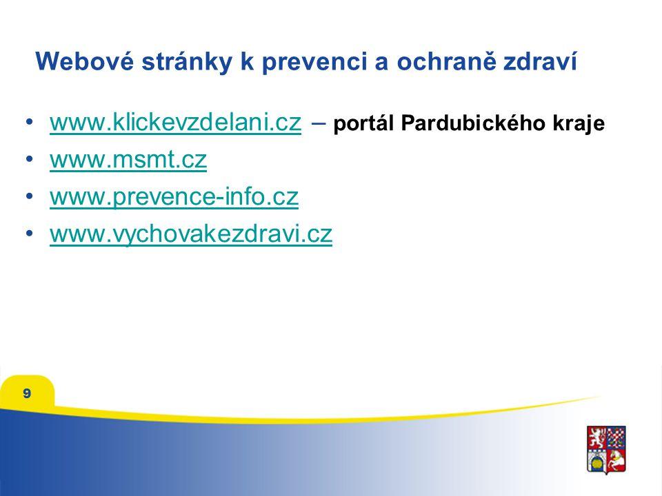 9 Webové stránky k prevenci a ochraně zdraví www.klickevzdelani.cz – portál Pardubického krajewww.klickevzdelani.cz www.msmt.cz www.prevence-info.cz w