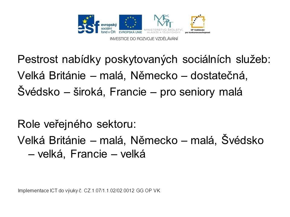Pestrost nabídky poskytovaných sociálních služeb: Velká Británie – malá, Německo – dostatečná, Švédsko – široká, Francie – pro seniory malá Role veřej