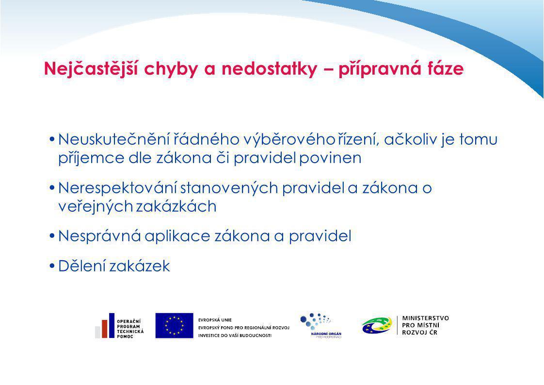 Nejčastější chyby a nedostatky – příklady dělení zadavatel poptával tisk české a anglické verze monografie, pohlednic a tisk – skládačka osobností, tisk mapy zadavatel poptával výše uvedená plnění na základě výzev k podání nabídky jako 4 veřejné zakázky malého rozsahu ve stejný den vyzváno vždy stejných 6 dodavatelů, vždy podali nabídku stejní 4 uchazeči vše vyhrál stejný uchazeč, realizace v jednotném termínu zadavatel porušil zákaz § 13 ZVZ v důsledku čehož nedodržel postup § 21 ZVZ a nezadal VZ v odpovídajícím druhu ZŘ