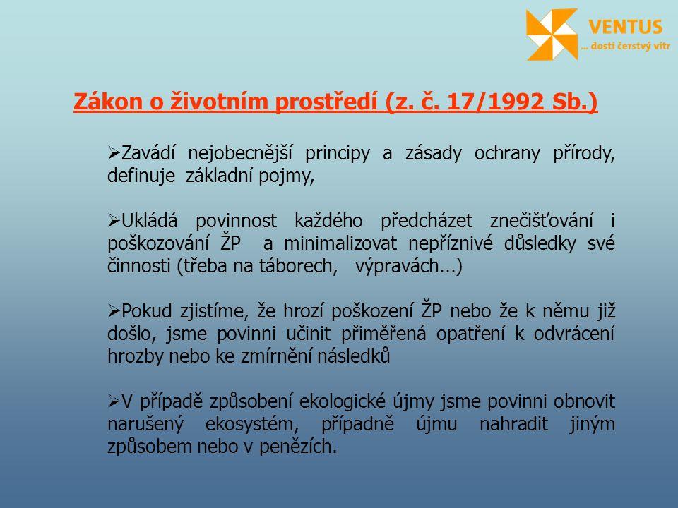 Zákon o ochraně přírody a krajiny (z.č. 114/1992 Sb.) + prováděcí vyhláška MŽP č.